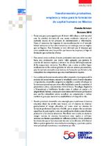 Transformación productiva, empleos y retos para la formación de capital humano en México